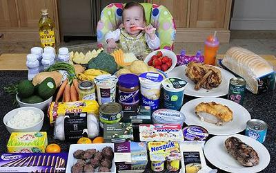 Baby Agatha with the food she needs each week just to survive