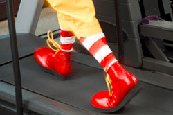 Ronald McDonald on treadmill